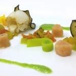 Dentice, gambero e calamaro con ortaggi e gnocchetti al gambero