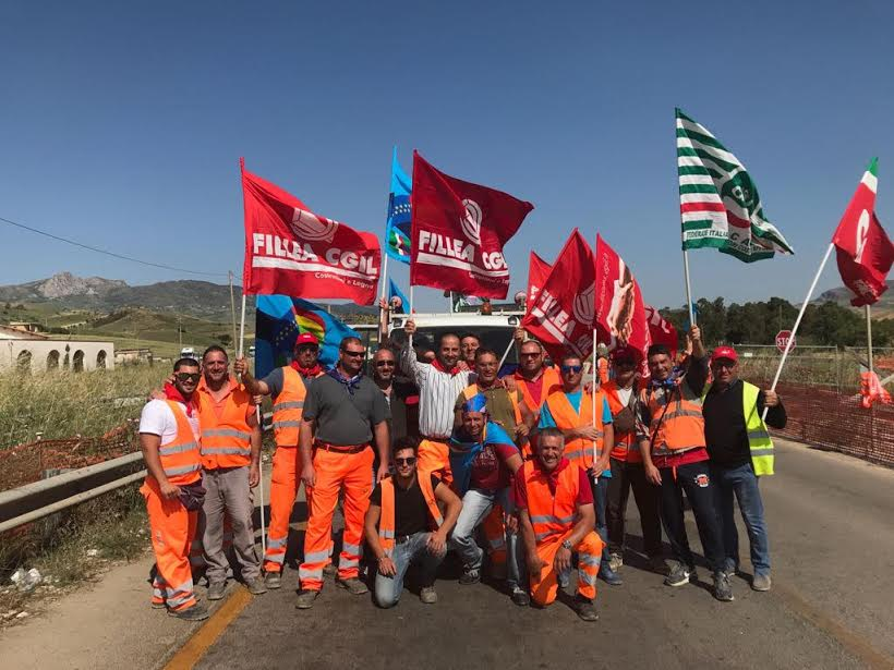 Protesta edili Palermo Agrigento