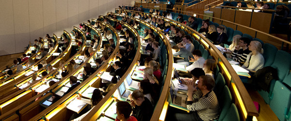 Business students attend a lecture at the Aula Magna auditorium at the Stockholm University on October 30, 2012. Stockholm University has over 36,000 students at four faculties, making it one of the largest universities in Scandinavia.    AFP PHOTO / JONATHAN NACKSTRAND        (Photo credit should read JONATHAN NACKSTRAND/AFP/Getty Images)